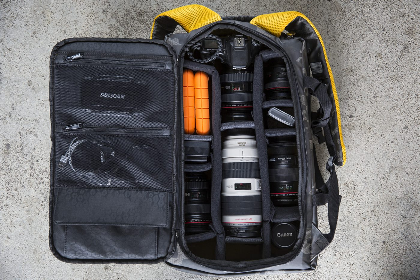 HEX-DSLR-Camo-Backpack-Loaded