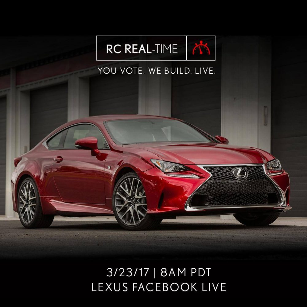 Lexus To Build RC F Sport On Facebook Live